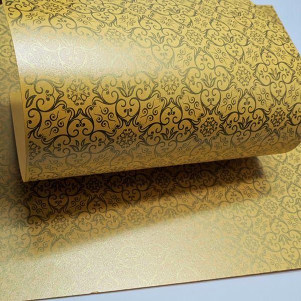 Papel Adamascado - Pérola Amarelo com Dourado - Tam. 32x65cm - 180g/m²