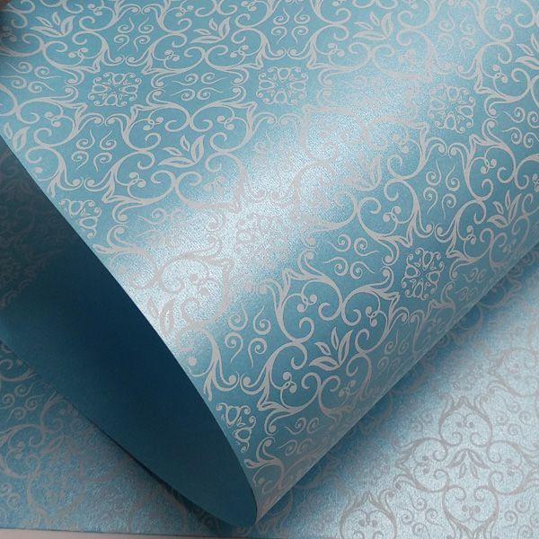 Papel Adamascado - Pérola Azul Claro com Branco - Tam. 30,5x30,5 - 180g/m²