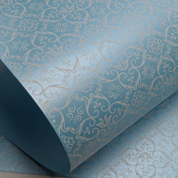 Papel Adamascado - Pérola Azul Claro com Branco - Tam. 32x65cm - 180g/m²