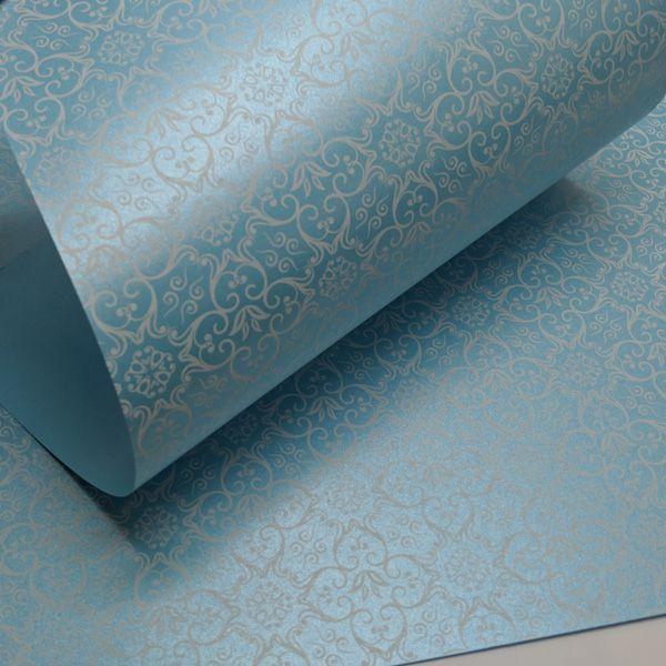 Papel Adamascado - Pérola Azul Claro com Branco - Tam. 47x65cm - 180g/m²