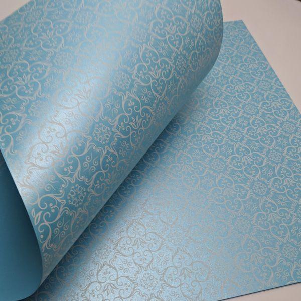 Papel Adamascado -  Pérola Azul Claro com Branco - Tam. A3 - 180g/m²