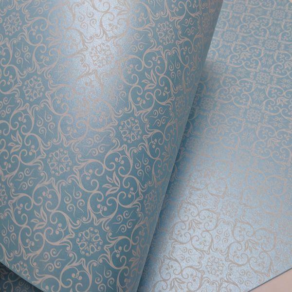 Papel Adamascado - Pérola Azul Claro com Branco - Tam. A4 - 180g/m²