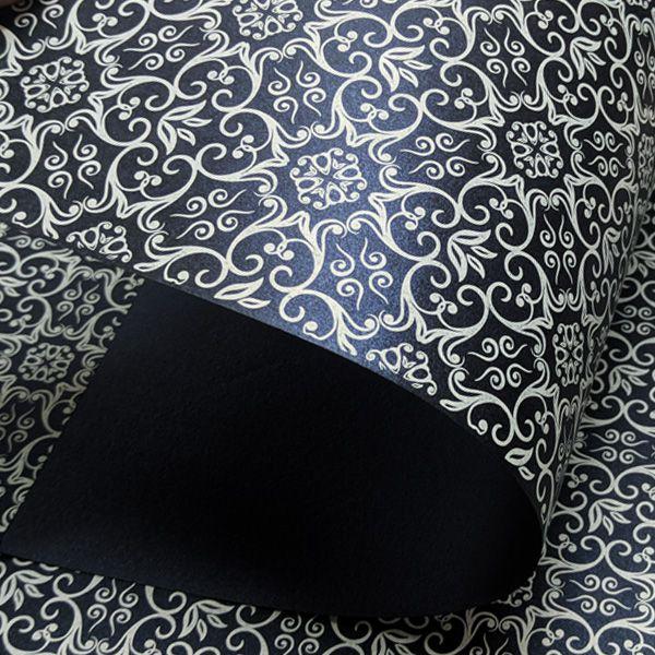 Papel Adamascado - Pérola Azul Escuro com Branco - Tam. 30,5x30,5 - 180g/m²