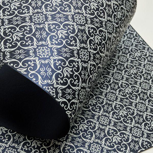Papel Adamascado -  Pérola Azul Escuro com Branco - Tam. A3 - 180g/m²