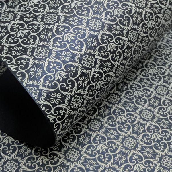 Papel Adamascado - Pérola Azul Escuro com Branco - Tam. A4 - 180g/m²