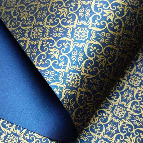 Papel Adamascado - Pérola Azul escuro  com Dourado - Tam. 30,5x30,5 - 180g/m²