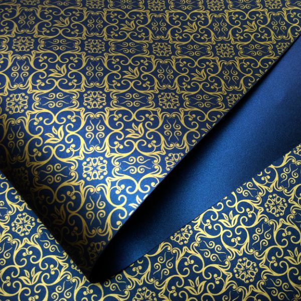Papel Adamascado - Pérola Azul escuro com Dourado - Tam. 47x65cm - 180g/m²