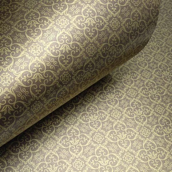 Papel Adamascado - Pérola Bronze com Dourado - Tam. 30,5x30,5 - 180g/m²