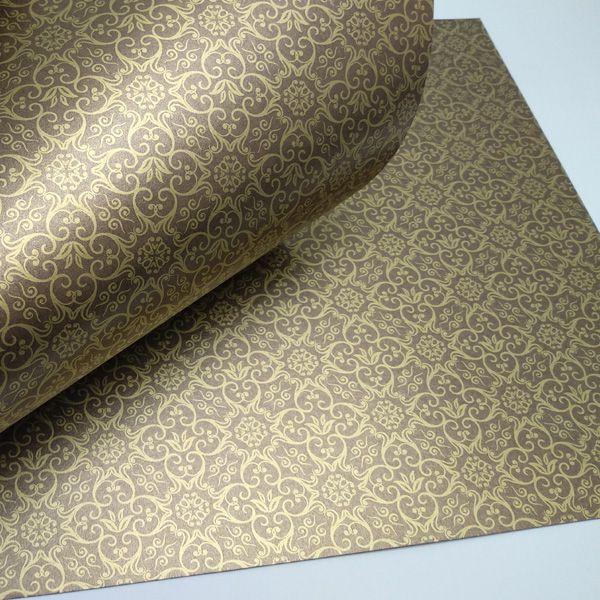 Papel Adamascado - Pérola Bronze com Dourado - Tam. 32x65cm - 180g/m²