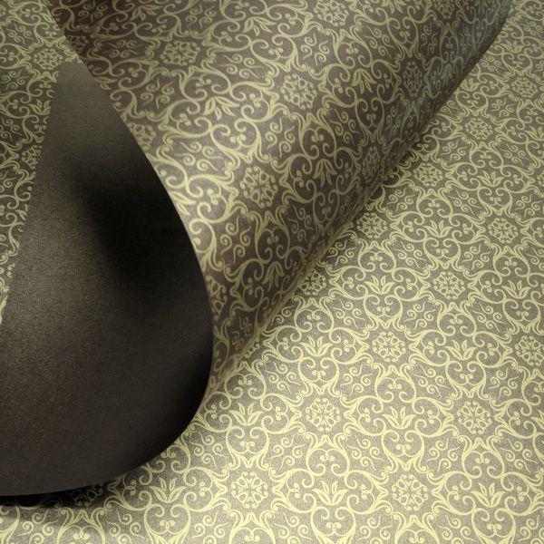 Papel Adamascado - Pérola Bronze com Dourado - Tam. 47x65cm - 180g/m²