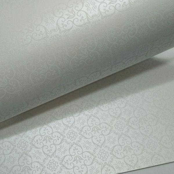 Papel Adamascado - Pérola com Branco - Tam. 30,5x30,5 - 180g/m²