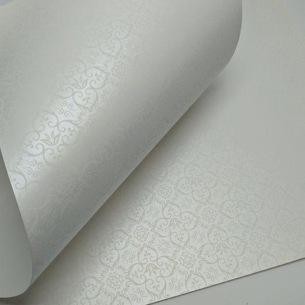 Papel Adamascado - Pérola com Branco - Tam. 32x65cm - 180g/m²