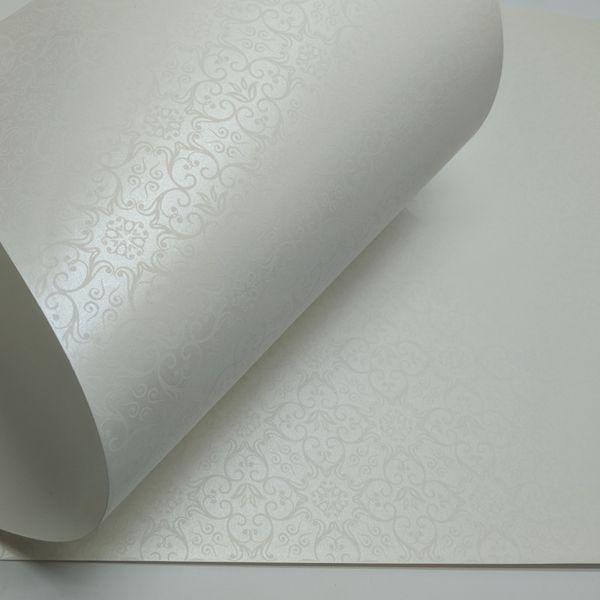 Papel Adamascado - Pérola com Branco - Tam. 47x65cm - 180g/m²