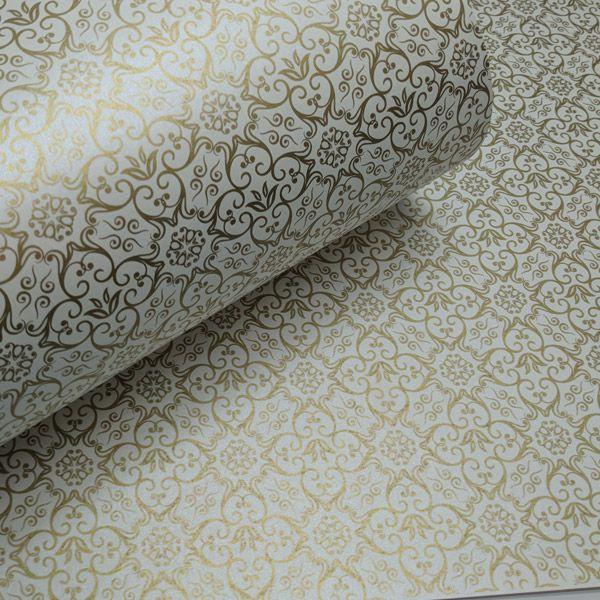 Papel Adamascado - Pérola com Dourado - Tam. 30,5x30,5 - 180g/m²