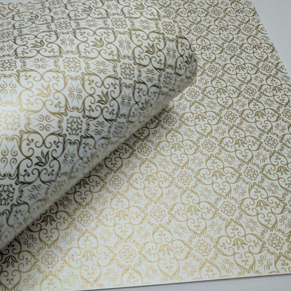 Papel Adamascado - Pérola com Dourado - Tam. 32x65cm - 180g/m²