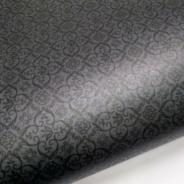 Papel Adamascado - Pérola Negra com preto - Tam. 30,5x30,5 - 180g/m²