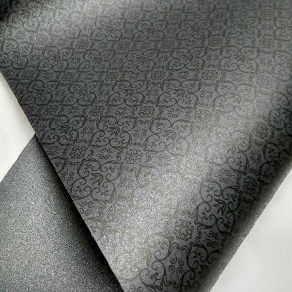 Papel Adamascado - Pérola Negra com preto - Tam. 32x65cm - 180g/m²