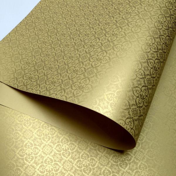 Papel Adamascado - Pérola Ouro com Dourado - Tam. 30,5x30,5 - 180g/m²