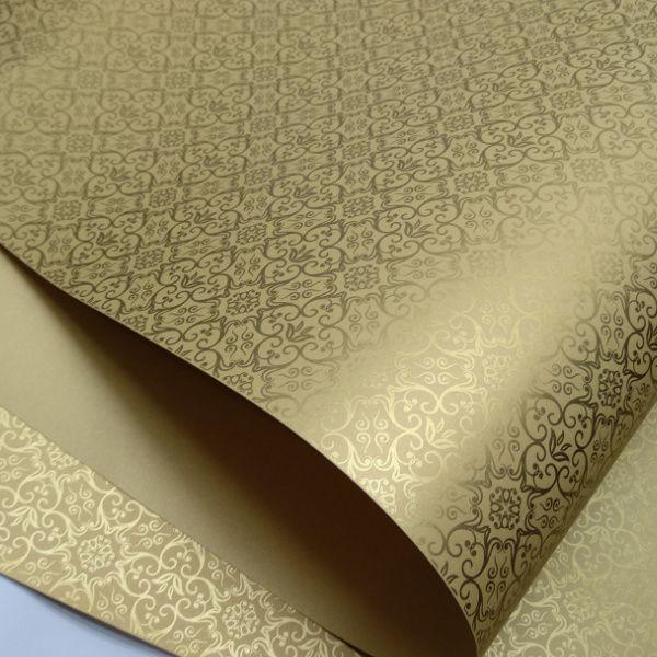 Papel Adamascado - Pérola Ouro com Dourado - Tam. 32x65cm - 180g/m²