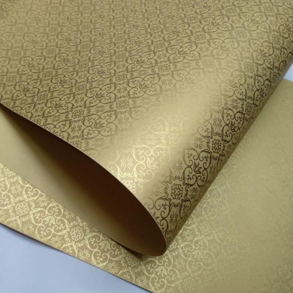 Papel Adamascado - Pérola Ouro com Dourado - Tam. 47x65cm - 180g/m²