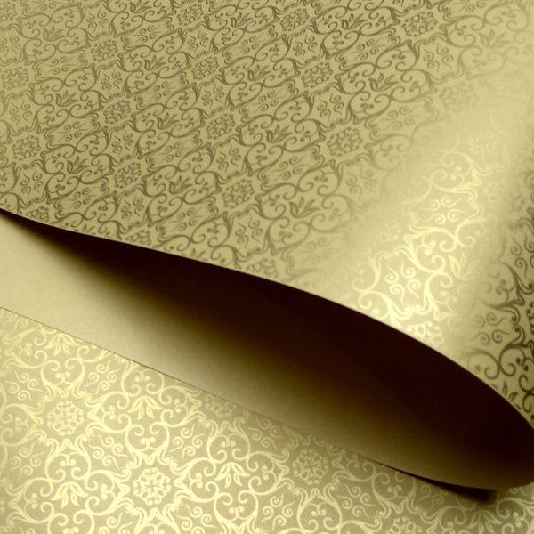 Papel Adamascado - Pérola Ouro  com Dourado - Tam. A4 - 180g/m²