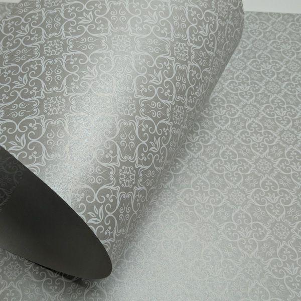Papel Adamascado - Pérola Prata com Branco - Tam. 30,5x30,5 - 180g/m²