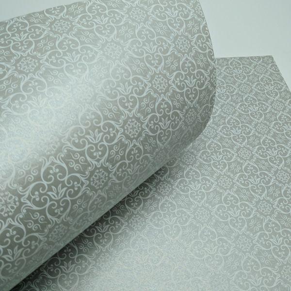 Papel Adamascado - Pérola Prata com Branco - Tam. 32x65cm - 180g/m²