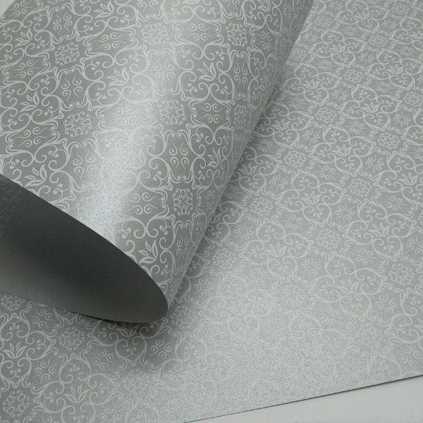 Papel Adamascado -  Pérola Prata com Branco - Tam. A3 - 180g/m²