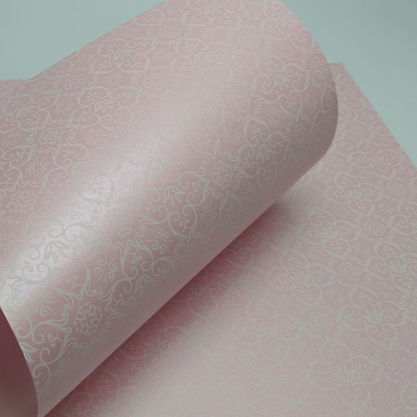 Papel Adamascado - Pérola Rosa com Branco - Tam. 30,5x30,5 - 180g/m²