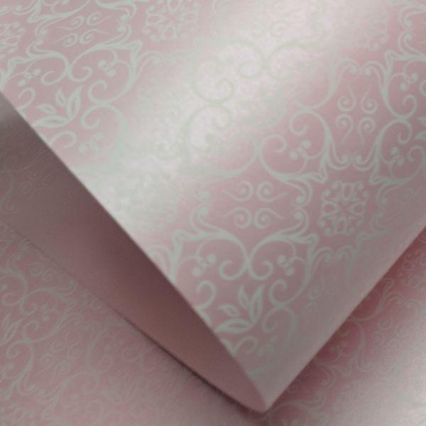 Papel Adamascado - Pérola Rosa com Branco - Tam. A4 - 180g/m²