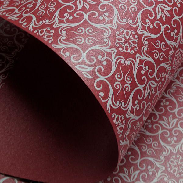 Papel Adamascado - Pérola Vermelho com Branco - Tam. 30,5x30,5 - 180g/m²