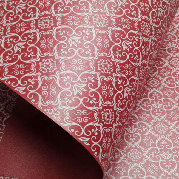 Papel Adamascado - Pérola Vermelho com Branco - Tam. 32x65cm - 180g/m²