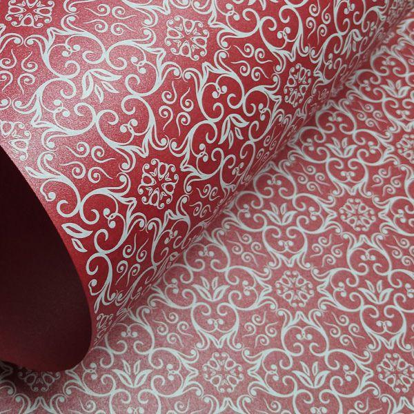 Papel Adamascado - Pérola Vermelho com Branco - Tam. A4 - 180g/m²