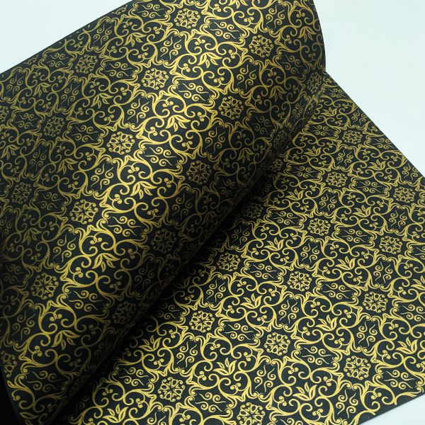 Papel Adamascado - Preto com Dourado - Tam. 30,5x30,5 - 180g/m²