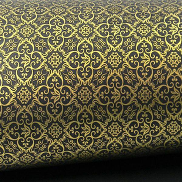Papel Adamascado - Preto com Dourado - Tam. 47x65cm - 180g/m²