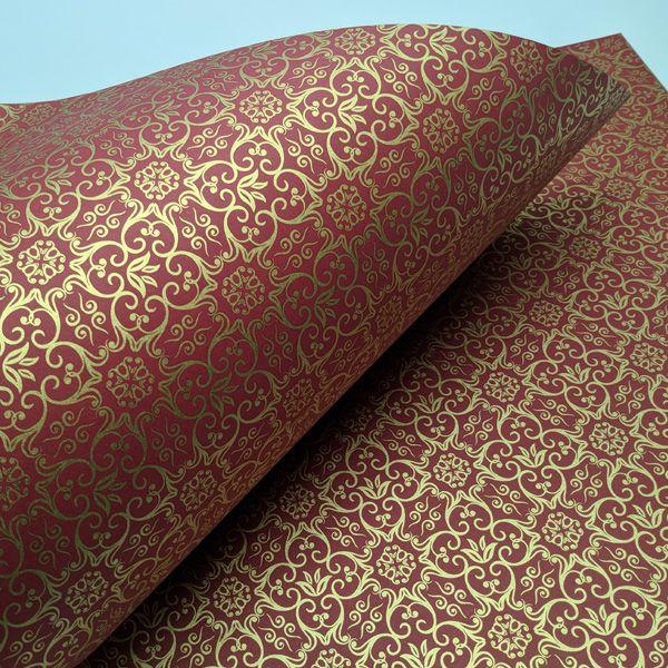 Papel Adamascado - Vermelho com Dourado - Tam. 30,5x30,5 - 180g/m²