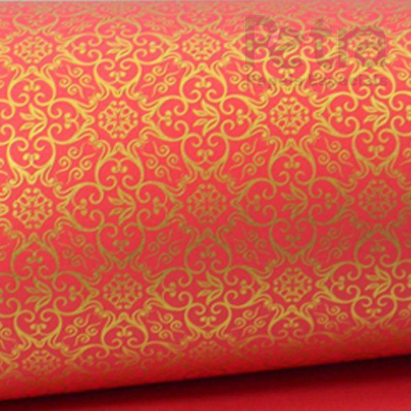 Papel Adamascado - Vermelho com Dourado - Tam. 32x65cm - 180g/m²