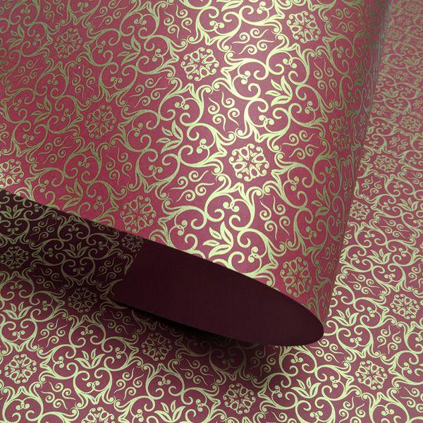 Papel Adamascado - Vermelho com Dourado - Tam. A3 - 180g/m²