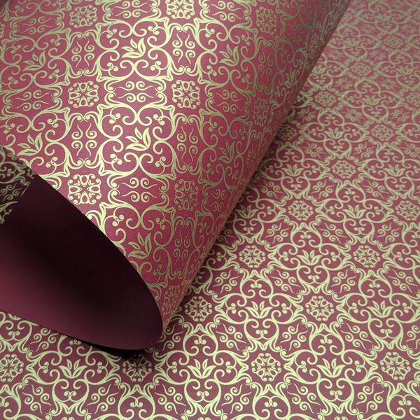 Papel Adamascado - Vermelho com Dourado - Tam. A4 - 180g/m²