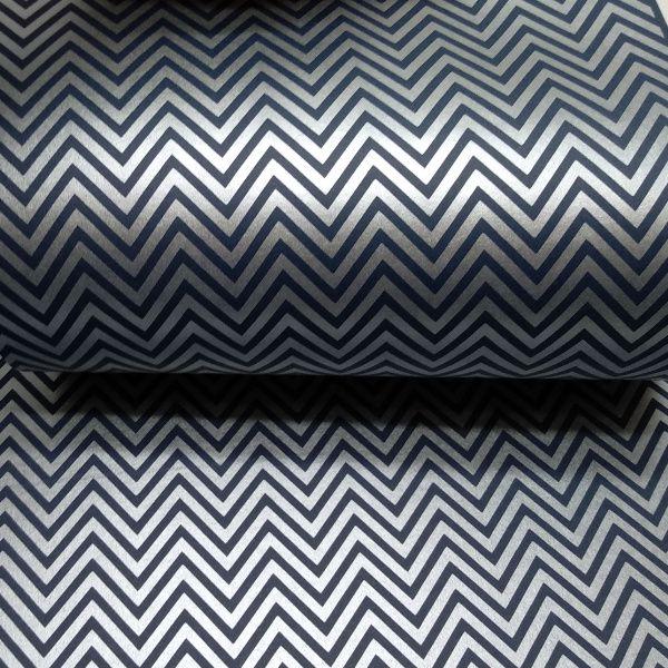 Papel Chevron - Azul escuro com prata - Tam. 30,5x30,5 - 180g/m²