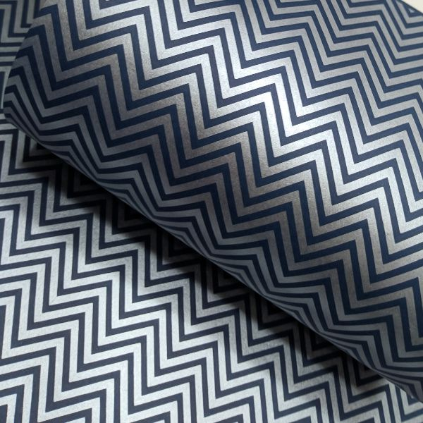 Papel Chevron - Azul escuro com prata - Tam. A3 - 180g/m²
