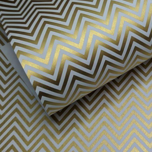 Papel Chevron - Branco com dourado - Tam. 30,5x30,5 - 180g/m²