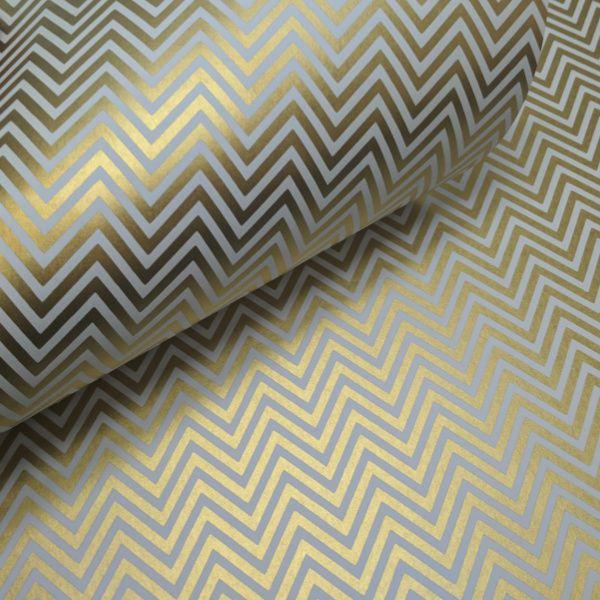 Papel Chevron - branco com dourado - Tam. 32x65cm - 180g/m²