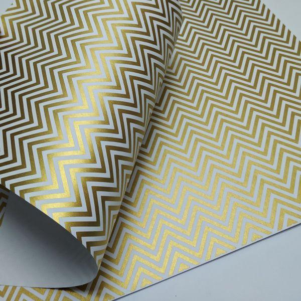 Papel Chevron - Branco com ouro - Tam. A3 - 180g/m²