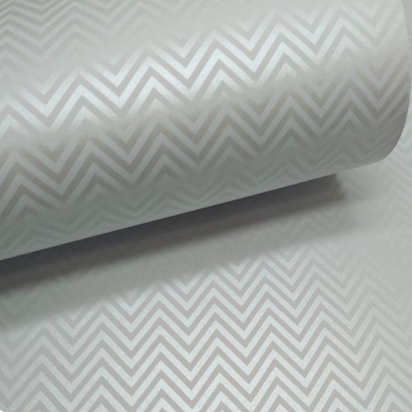 Papel Chevron - Branco com perola - Tam. 30,5x30,5 - 180g/m²