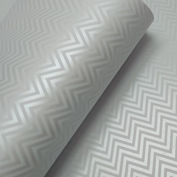 Papel Chevron - branco com perola - Tam. 32x65cm - 180g/m²