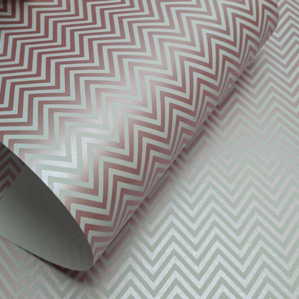 Papel Chevron - branco com rosa perola - Tam. 32x65cm - 180g/m²