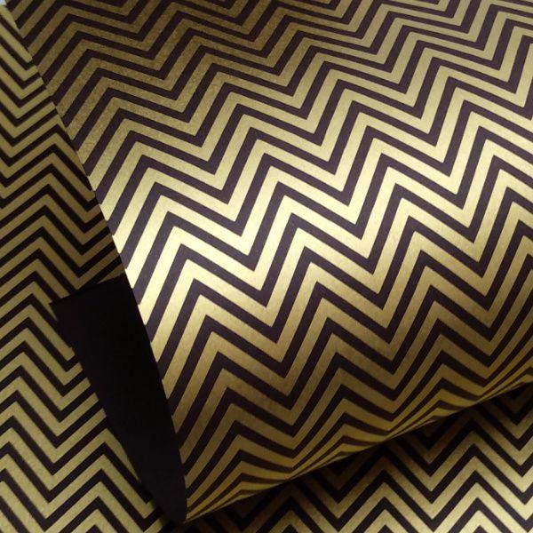 Papel Chevron - Marrom com dourado - Tam. 32x65cm - 180g/m²
