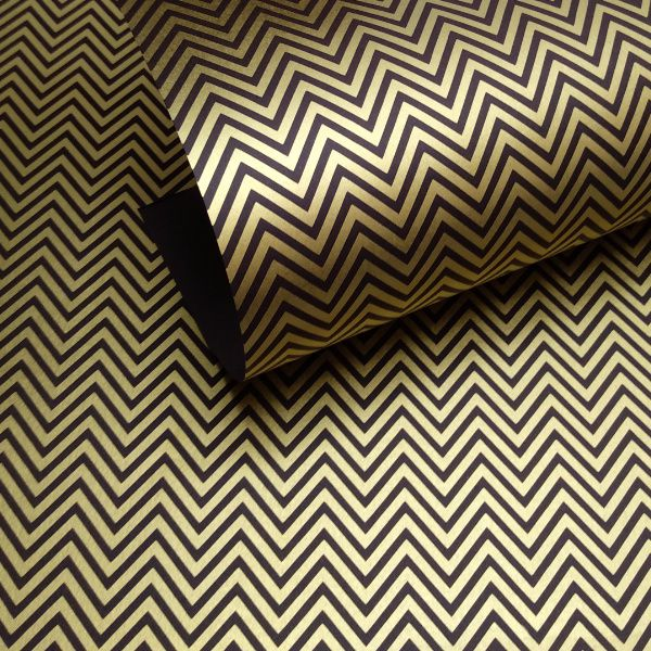Papel Chevron - Marrom  com Ouro - Tam. A4 - 180g/m²