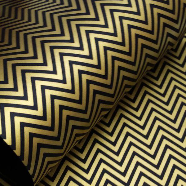 Papel Chevron - Preto com Dourado - Tam. 30,5x30,5 - 180g/m²